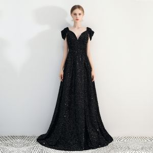 Chic / Beautiful Black A-Line / Princess Evening Dresses  2019 Cap Sleeves V-Neck Cathedral Train Backless Sequins Polyester Evening Party Formal Dresses