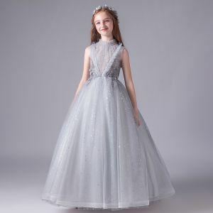 Vintage Gris Cumpleaños Vestidos para niñas 2020 Ball Gown Transparentes Cuello Alto Sin Mangas Apliques Con Encaje Rebordear Lentejuelas Tul Largos Ruffle