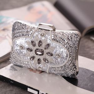 Luxury / Gorgeous Silver Sequins Beading Pearl Rhinestone Metal Clutch Bags 2018
