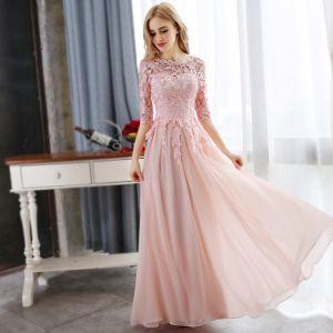 Prisvärd Pärla Rosa Aftonklänningar 2018 Prinsessa Spets Appliqués Kristall Urringning 3/4 ärm Långa Formella Klänningar