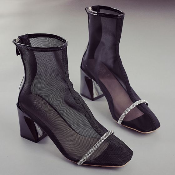 Chic / Beautiful Black Street Wear See-through Womens Sandals 2020 7 cm Thick Heels Pointed Toe Sandals