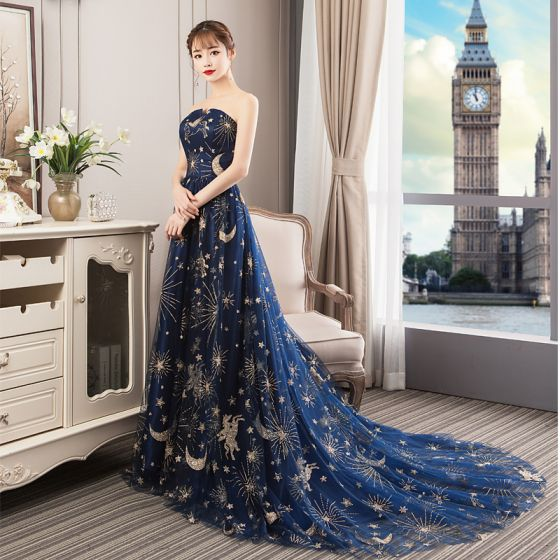 Elegant Navy Blue Prom Dresses 2018 A-Line / Princess Glitter Cartoon Strapless Backless Sleeveless Court Train Formal Dresses