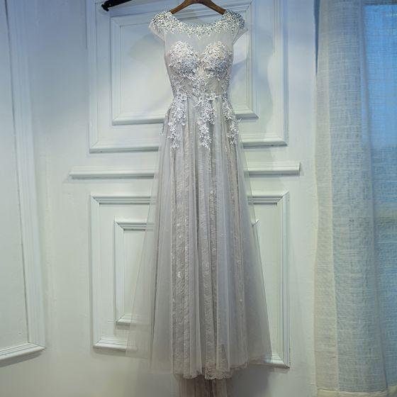 Proste / Simple Brązowy Sukienki Na Wesele 2017 Princessa Z Koronki Kwiat Bez Pleców Cekiny Wycięciem Kótkie Rękawy Trenem Sweep Sukienki Dla Druhen