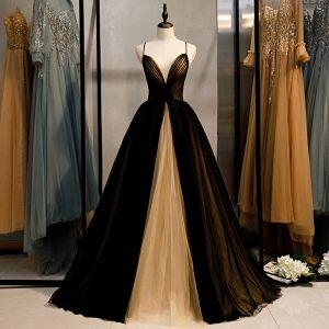 Modest / Simple Black Prom Dresses 2020 Ball Gown Spaghetti Straps Sleeveless Backless Floor-Length / Long Formal Dresses