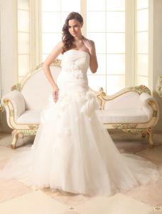 Belle Bustier Une Ligne Avec Des Robes Fleurs À La Main De Mariage De Robe De Mariée
