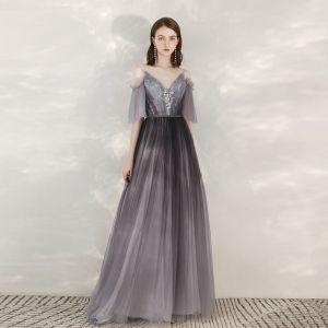 Elegant Grape Evening Dresses  2020 A-Line / Princess Spaghetti Straps V-Neck 1/2 Sleeves Appliques Lace Beading Sash Floor-Length / Long Ruffle Backless Formal Dresses