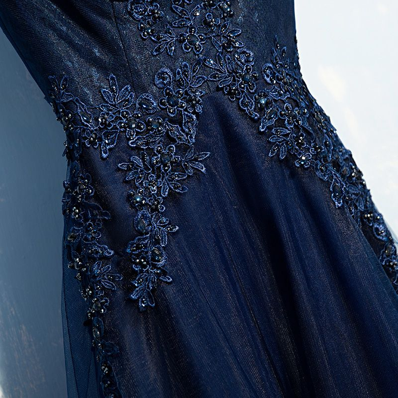Classic Navy Blue Formal Dresses 2017 Lace Lace Flower Sequins Sleeveless A-Line / Princess Evening Dresses