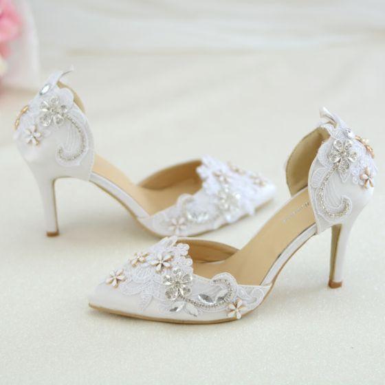 Elegantes Blanco Con Encaje Flor Zapatos de novia 2020 Rhinestone 8 cm Stilettos / Tacones De Aguja Punta Estrecha Boda De Tacón