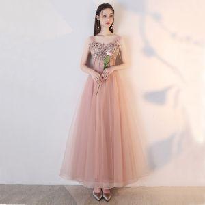 Elegantes Rosa Clara de fiesta Vestidos de graduación 2019 A-Line / Princess Con Encaje Flor Perla Rhinestone Sin Espalda Largos Vestidos Formales