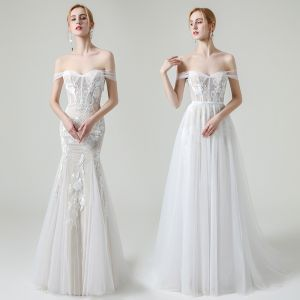High-end Champagne Outdoor / Garden Wedding Dresses 2020 A-Line / Princess Off-The-Shoulder Short Sleeve Backless Appliques Lace Detachable Sweep Train Ruffle