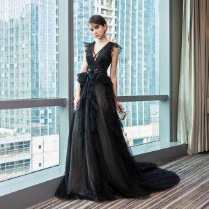 Piękne Czarne Sukienki Wieczorowe 2017 Princessa V-Szyja Koronkowe Bez Pleców Rhinestone Wieczorowe Strona Sukienka