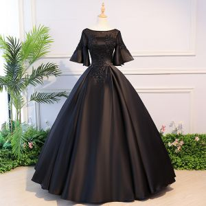 Elegant Black Quinceañera Prom Dresses 2018 Ball Gown Lace Flower Beading Crystal Scoop Neck Backless 1/2 Sleeves Floor-Length / Long Formal Dresses