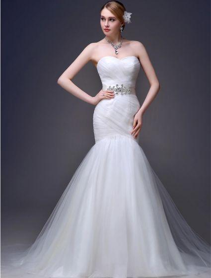 2015 Mermaid Liebsten Rüschen Schärpe Tulle Sweep Zug Hochzeitskleid
