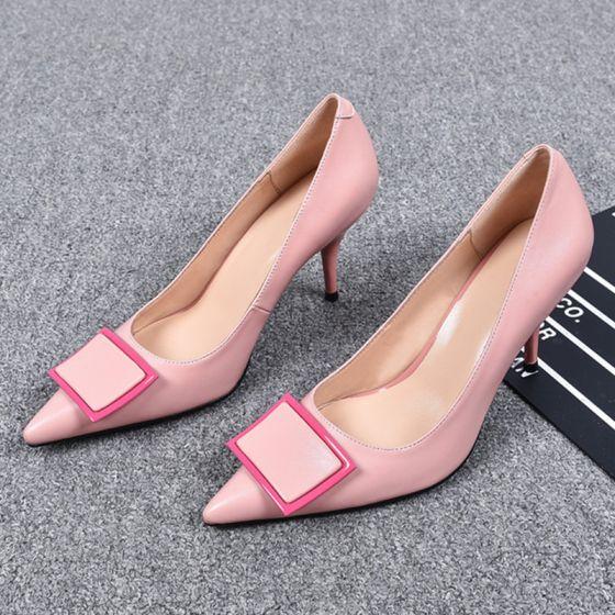 Herlig Rødmende Rosa Casual Pumps 2019 Lær Spenne 8 cm Stiletthæler Spisse Pumps
