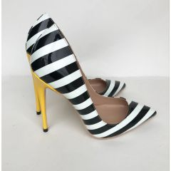 Chic / Beautiful Black White Striped Casual Pumps 2019 12 cm Stiletto Heels Pointed Toe Pumps