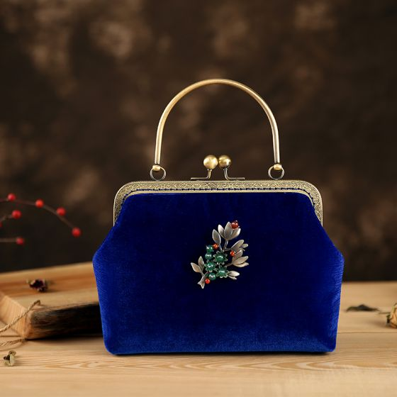 Chiński Styl Vintage Królewski Niebieski Welur Frezowanie Kwadratowe Kopertówki 2020
