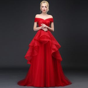 Chic / Beautiful Red Prom Dresses 2017 A-Line / Princess Off-The-Shoulder V-Neck Short Sleeve Sweep Train Ruffle Backless Formal Dresses
