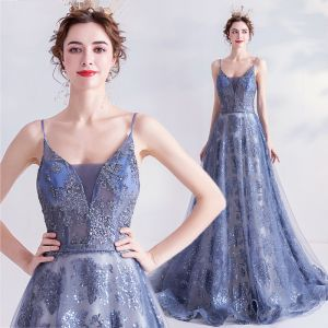 Scintillantes Océan Bleu Glitter Robe De Soirée 2020 Princesse Bretelles Spaghetti Paillettes Sans Manches Dos Nu Train De Balayage Robe De Ceremonie