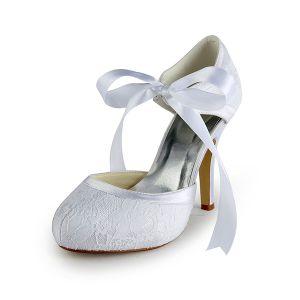 Efektowne Białe Buty Ślubne Z Koronki Szpilki Sandały Pasek Wstążka Krawat