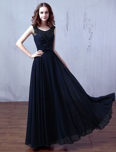 Glamorous Evening Dresses 2016 Scoop Neckline Beading Applique Lace Dark Navy Chiffon Long Dress