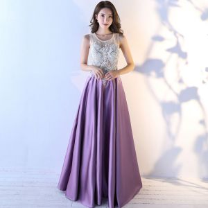 Chic / Beautiful Purple Evening Dresses  2017 A-Line / Princess U-Neck Lace Appliques Backless Beading Evening Party Formal Dresses