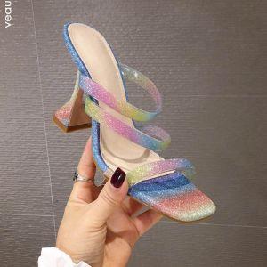 Fashion Glitter Multi-Colors Rainbow Womens Sandals 2020 Street Wear 9 cm Thick Heels Open / Peep Toe Sandals