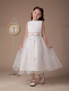 White Sleeveless Satin Flower Girl Dress