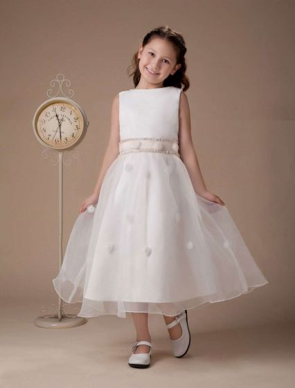 White Sleeveless Satin Flower Girl Dress