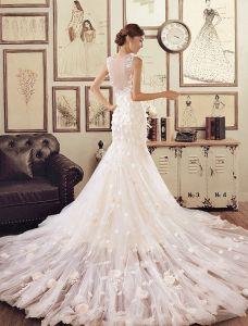 Mermaid Applique Handgjorda Blommor Spets Champagne Bröllopsklänningar