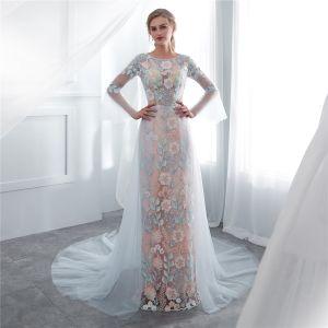 Illusion Sky Blue Evening Dresses  2018 Sheath / Fit Scoop Neck Long Sleeve Appliques Pierced Lace Chapel Train Formal Dresses