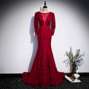Vintage / Retro Red Lace See-through Evening Dresses  2020 Trumpet / Mermaid Scoop Neck Puffy Long Sleeve Sash Floor-Length / Long Backless Formal Dresses