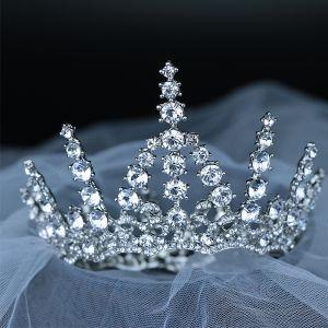 Sparkly Silver Rhinestone Tiara 2019 Metal Wedding Bridal Hair Accessories