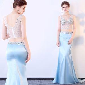 Sexy 2 Stück Himmelblau Durchsichtige Sommer Abendkleider 2018 Mermaid V-Ausschnitt Ärmellos Pailletten Strass Perlenstickerei Hof-Schleppe Rückenfreies Festliche Kleider