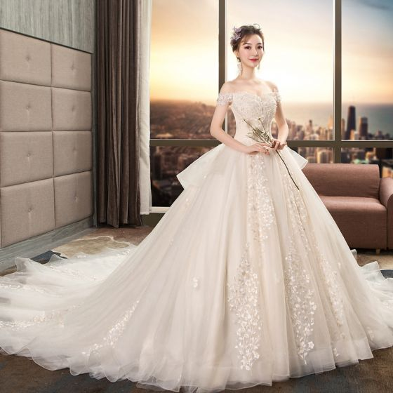 Classy Champagne Wedding Dresses 2019 A-Line / Princess Off-The-Shoulder Beading Sequins Appliques Lace Flower Short Sleeve Backless Royal Train Wedding