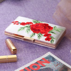 Chinese style White Embroidered Flower Metal Clutch Bags 2018