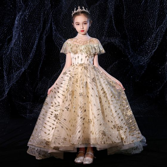 Vintage / Retro Gold See-through Birthday Flower Girl Dresses 2020 Ball Gown High Neck Short Sleeve Beading Appliques Sequins Sweep Train Ruffle