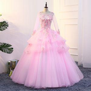 Fée Des Fleurs Rose Bonbon Robe De Bal 2018 U-Cou Tulle Robe Boule Appliques Dos Nu Perlage Promo Robe De Ceremonie