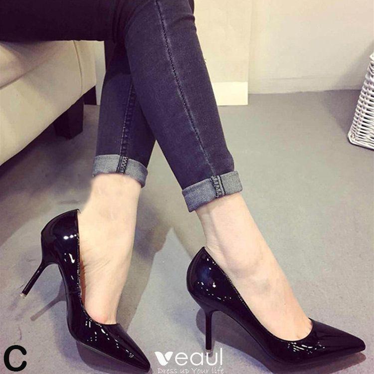 Chic / Beautiful 2017 10 cm / 4 inch Black Office PU Summer High Heels Stiletto Heels Pumps