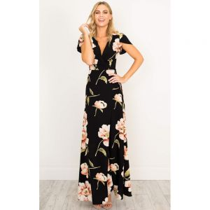 Bohemia Black Holiday Maxi Dresses 2018 A-Line / Princess Printing Lace Up V-Neck Short Sleeve Ankle Length Women's Clothing