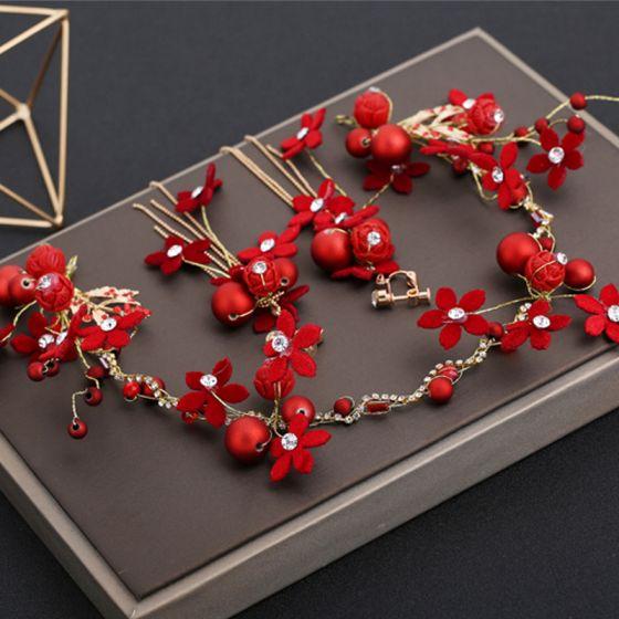 Chic / Belle Rouge Accessoire Cheveux Boucles D'Oreilles 2019 Perlage Faux Diamant Mariage Promo Accessorize
