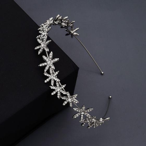 Modest / Simple Silver Rhinestone Flower Hair Hoop Bridal Hair Accessories 2020 Metal Headpieces Wedding Accessories
