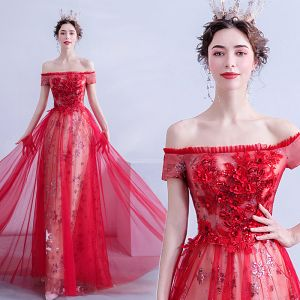 Charming Red Evening Dresses  2020 A-Line / Princess Off-The-Shoulder Sequins Lace Flower Short Sleeve Backless Floor-Length / Long Formal Dresses