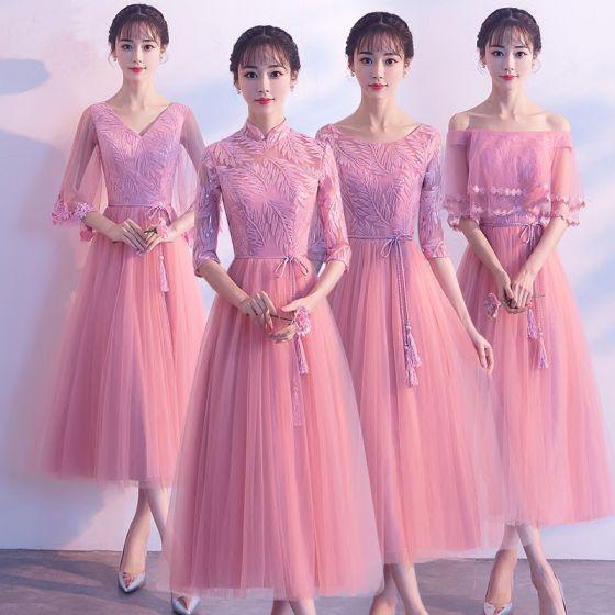 Chic / Belle Rose Bonbon Robe Demoiselle D'honneur 2018 Princesse Paillettes Ceinture Gland Thé Longueur Volants Dos Nu Robe Pour Mariage