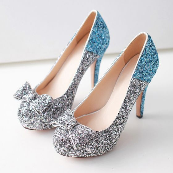 Sparkly Pool Blue Pumps 2019 Sequins Bow 8 cm Stiletto Heels Round Toe Pumps
