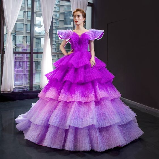 Luxury / Gorgeous Purple Red Carpet Prom Dresses 2020 Ball Gown V-Neck Cap Sleeves Court Train Cascading Ruffles Backless Formal Dresses