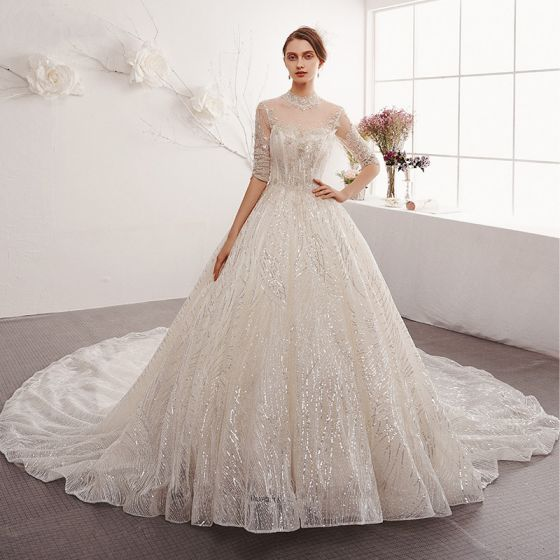Charming Champagne Wedding Dresses 2019 A-Line / Princess Scoop Neck Beading Sequins Lace Flower 1/2 Sleeves Backless Cathedral Train