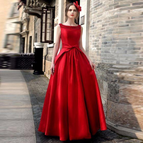 8688ec4a3 Vintage Rojo Vestidos largos 2019 A-Line   Princess Scoop Escote Sin Mangas  Bowknot Sin Espalda Largos ...