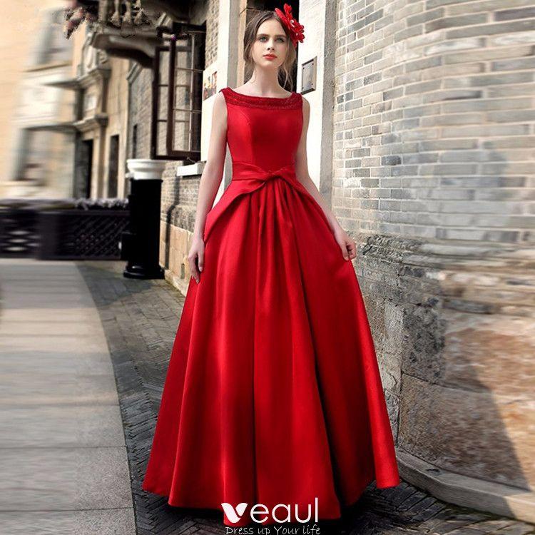 Vintage Rojo Vestidos Largos 2019 A Line Princess Scoop Escote Sin Mangas Bowknot Sin Espalda Largos Ropa De Mujer