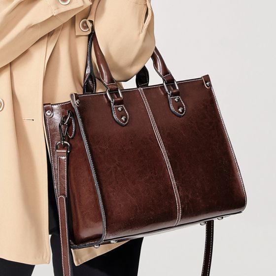 Schlicht Kaffee Quadratische Schultertaschen Umhängetasche Umhängetaschen Handtasche 2021 Leder Freizeit Damentaschen
