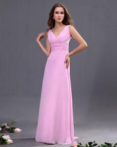 V-ausschnitt Sash Bodenlangen Brautjungfernkleider Trauzeugin Kleid